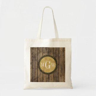 Lantlig Wood Monogram för plankor #1 Steampunk 3 Tote Bags