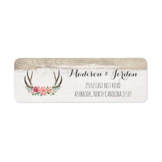 Lantlig Wood personligt bröllp för blom- horn på Returadress Etikett