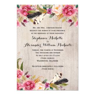 Lantliga blommor och fjädrar som gifta sig 12,7 x 17,8 cm inbjudningskort