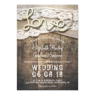 Lantliga bröllop för ladugård för snöre för Burlap 12,7 X 17,8 Cm Inbjudningskort