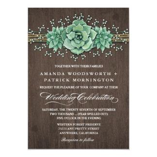 Lantliga bröllopinbjudningar för suckulent 12,7 x 17,8 cm inbjudningskort