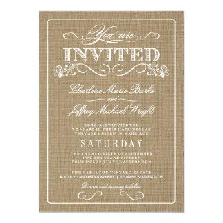Lantliga Burlapelegant bröllopinbjudningar 11,4 X 15,9 Cm Inbjudningskort