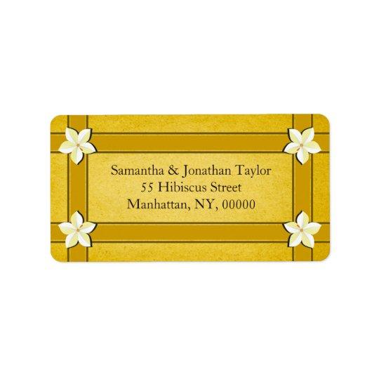 Lantliga guld- blom- returetiketterfavörer adressetikett