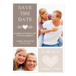 Lantliga hjärtaklotter sparar daterafotovykortet vykort