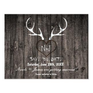 Lantliga hjorthorn på kronhjort & sniden 10,8 x 14 cm inbjudningskort
