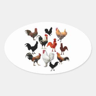 Lantliga hönor för tuppCollagevintage Ovalt Klistermärke