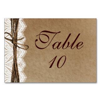 Lantliga kort för bord för bröllop för landvintage