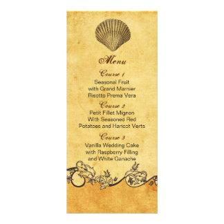 lantliga kort för meny för snäckskalstrandbröllop