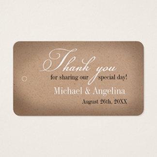 Lantliga märkre för favör för bröllop för Kraft Visitkort