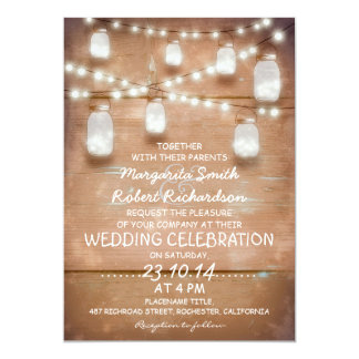 lantliga masonburkar och ljusa bröllopinbjudningar 12,7 x 17,8 cm inbjudningskort