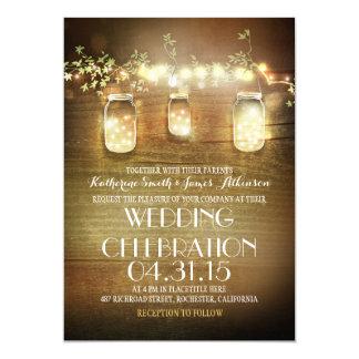 Lantliga Masonburkar stränger ljuselegant bröllop 12,7 X 17,8 Cm Inbjudningskort