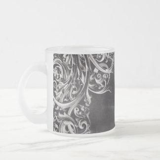 lantliga monograms för svart tavla för shabby chic kaffe koppar