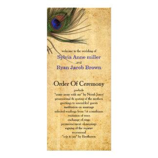 Lantliga påfågelfjäderbröllopsprogram reklamkort