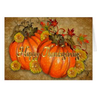 Lantliga pumpor för happy thanksgivingkort hälsningskort