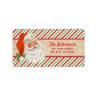 Lantliga randar för BurlapvintageSanta jul Adressetikett