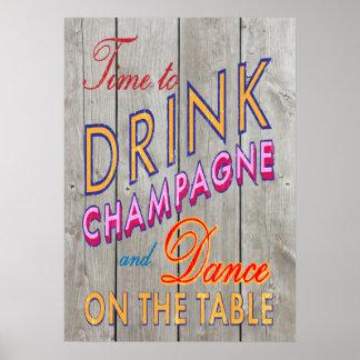 Lantliga Time som dricker champagneaffischen Poster