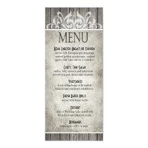 Lantliga Wood Filigree grå färg för middagmeny | 10,2 X 23,5 Cm Inbjudningskort