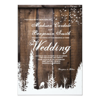 Lantliga Wood inbjudningar för bröllop för