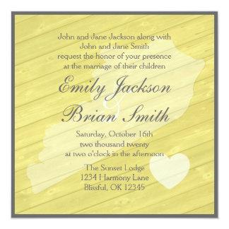 Lantliga wood Kentucky gula bröllopinbjudningar Fyrkantigt 13,3 Cm Inbjudningskort