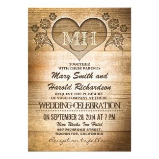 lantliga wood landsbyggsbröllopinbjudningar