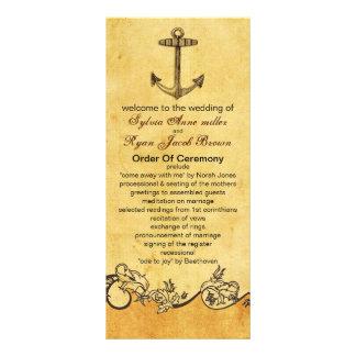 lantligt ankra den nautiska bröllopsprogrammet anpassade rackkort
