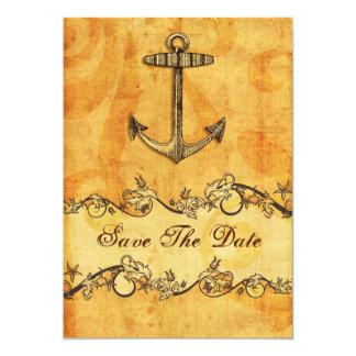 lantligt ankra nautisk bröllop spara datum 12,7 x 17,8 cm inbjudningskort