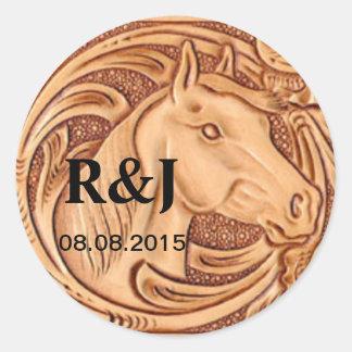Lantligt bearbetat läder för häst mönster runt klistermärke