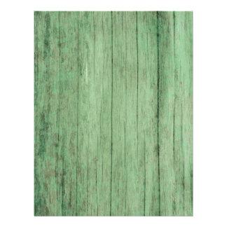 Lantligt bekymrat grönt träpapper reklamblad