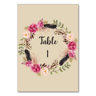 Lantligt blom- kort för bordsnummerBoho