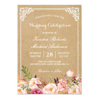 Lantligt blom- ramKraft | gifta sig firande 12,7 X 17,8 Cm Inbjudningskort