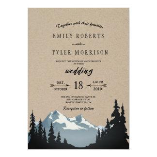 Lantligt bröllop för bergskogsmarkskog 12,7 x 17,8 cm inbjudningskort