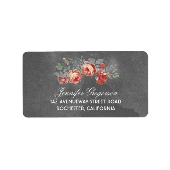 Lantligt bröllop för blom- svart tavla adressetikett