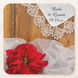 Lantligt bröllop för julstjärna- och underlägg papper kvadrat