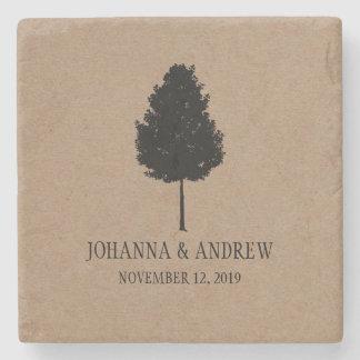 Lantligt bröllop för Kraft pappert skogträd Stenunderlägg