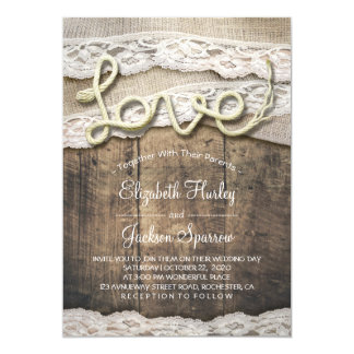 Lantligt bröllop för ladugård för snöre för Burlap 12,7 X 17,8 Cm Inbjudningskort