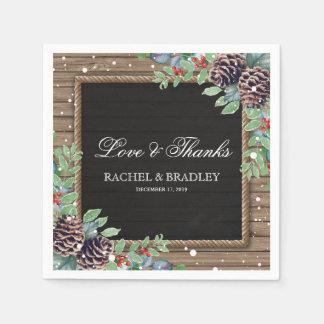 Lantligt bröllop för landjulvinter papper servetter