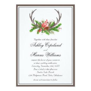 d2c32dc17c41 Lantligt bröllop för vinter för horn på 12,7 x 17,8 cm inbjudningskort