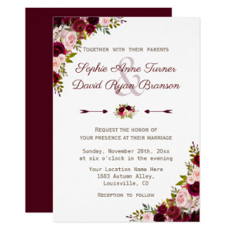 Lantligt Burgundy Marsala blom- bröllop 12,7 X 17,8 Cm Inbjudningskort