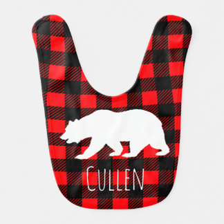 Lantligt för björn & baby för buffelkontrollpläd hakklapp