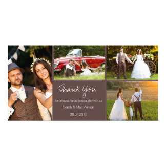 Lantligt fyra fotobrölloptack Photocard Fotokort