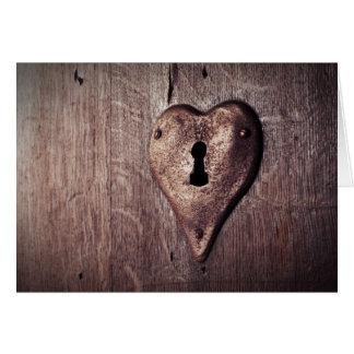 Lantligt hjärtformade låser i hälsningskort