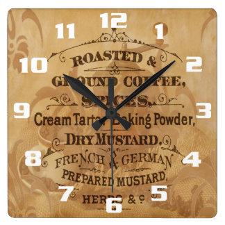 Lantligt kök för kaffe och för kryddor fyrkantig klocka