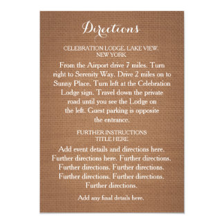 Lantligt kort för Burlapbröllopriktningar 12,7 X 17,8 Cm Inbjudningskort