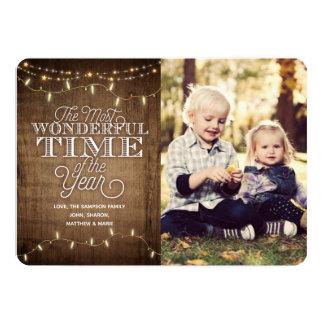 Lantligt kort för julhelgdagfoto 12,7 x 17,8 cm inbjudningskort