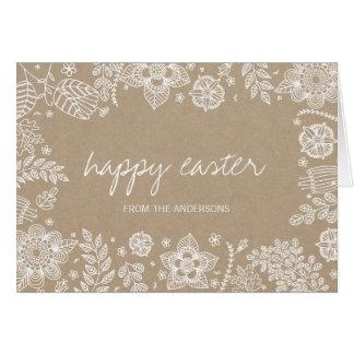 Lantligt kort för Kraft blom- glad påskhälsning Hälsningskort