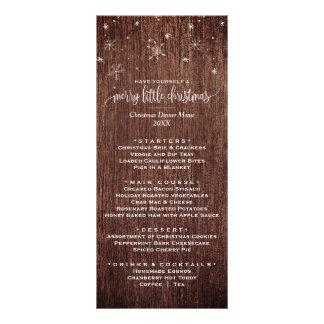 Lantligt kort för meny för Snowflakejulmiddag