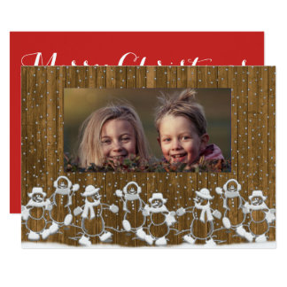 Lantligt kort för snögubbefamiljgod jul 12,7 x 17,8 cm inbjudningskort