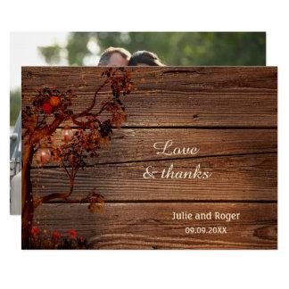 Lantligt kort för tack för nedgångfotobröllop 12,7 x 17,8 cm inbjudningskort