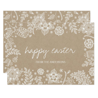 Lantligt Kraft blom- glad påskkort 12,7 X 17,8 Cm Inbjudningskort