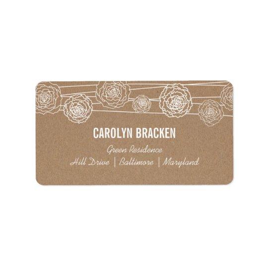 Lantligt Kraft bruntpapper blommar bröllop Adressetikett